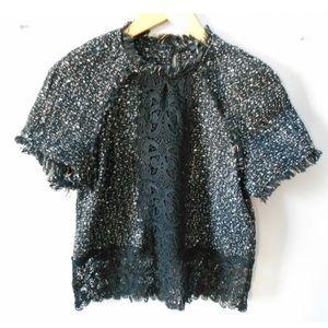 Zara XS Black Tweed boxy Top Lace Detail dressy